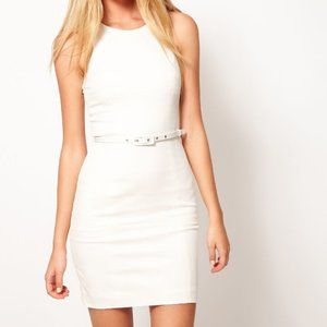 French Connection Elusive Love White Belted Dress
